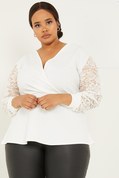 Curve White Lace Sleeve Peplum Top